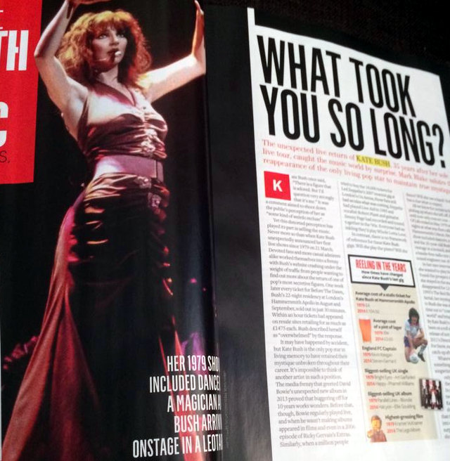 Q Magazine on Kate's shows