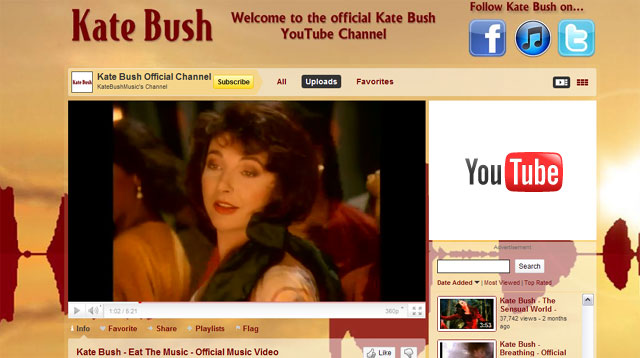 Official Kate Bush EMI Youtube channel