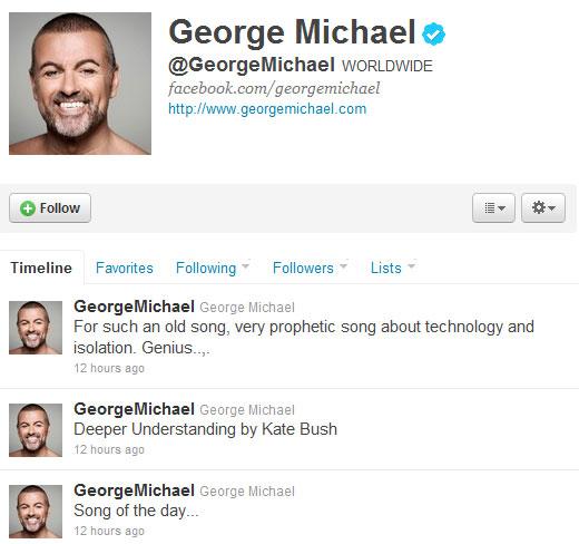George Michael on plugs Kate on Twitter