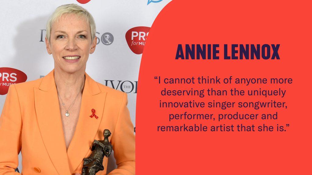 Annie Lennox praises Kate for her Ivors Fellowship