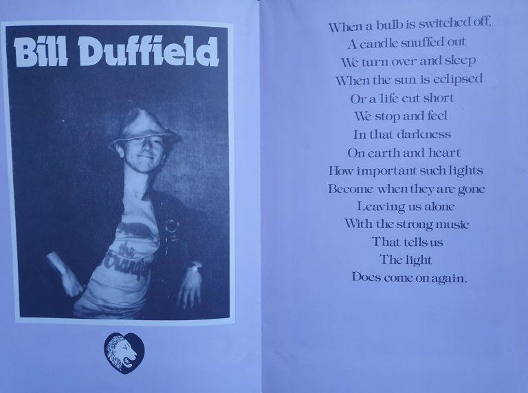 Bill Duffield concert programme