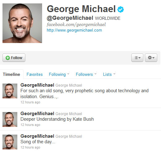 George Michael on plugs Kate on Twitter
