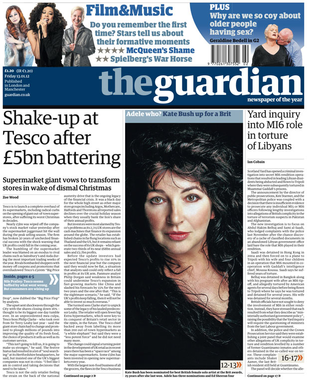 The Guardian front page 13th Jan 2012